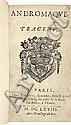 RACINE (J.). Andromaque. Tragédie. Paris, Théodore Girard, 1668, in-12, maroquin terre de Sienne janséniste, dos à nerfs, roulette dorée intérieure, tranches dorées (Riviere & Son).