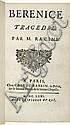 RACINE (J.). Bérénice. Tragédie. Paris, Claude Barbin, 1671, in-12, maroquin bleu janséniste, dos à nerfs, roulette dorée intérieure, tranches dorées (Trautz-Bauzonnet).
