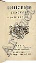RACINE (J.). Iphigénie. Tragédie. Paris, Claude Barbin, 1675, in-12, maroquin rouge janséniste, dos à nerfs, roulette dorée intérieure, tranches dorées (Trautz-Bauzonnet).