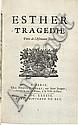RACINE (J.). Esther. Tragédie. Paris, Denys Thierry, 1689, in-4°, maroquin rouge janséniste, dos à nerfs, roulette dorée intérieure, tranches dorées (Trautz-Bauzonnet).