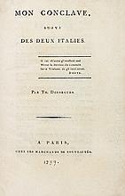 DÉSORGUES (Théodore). Mon conclave, suivi des Deux Italies. Paris, chez les marchands de nouveautés, s.d. [1799]. In-8, demi-maroquin rouge, dos orné de caissons à froid, tête dorée, non rogné (Lortic).