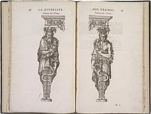 SAMBIN (H.). Œuvre de la diversité des termes dont on use en architecture, reduict en ordre... Lyon, par Marcorelle pour J.Durant, 1572, in-folio de 39 ff. sign. A-I4, K4, basane olive, filets à froid autour des plats avec petit fer en angle, dos