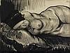 Louis Jou (1881-1968) [Femme nue allongée sur un coussin]. Vers 1930. Dessin, pinceau et encre de chine, sur vergé gris, [750 x 580], signé en haut à droite. Infimes accidents aux bords du feuillet.