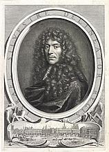Gérard Edelinck (1640-1707) Portrait d'Israël Silvestre. Gravé d'après Ch. Le Brun. 247 x 351. Le Blanc 315. Très belle épreuve. Menues salissures au verso. Petites marges irrégulières.