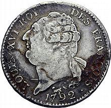 Ecu de 6 livres, Paris 1792 2ème semestre. Autre exemplaire. - Argent. 29,50g. Presque Très Beau.