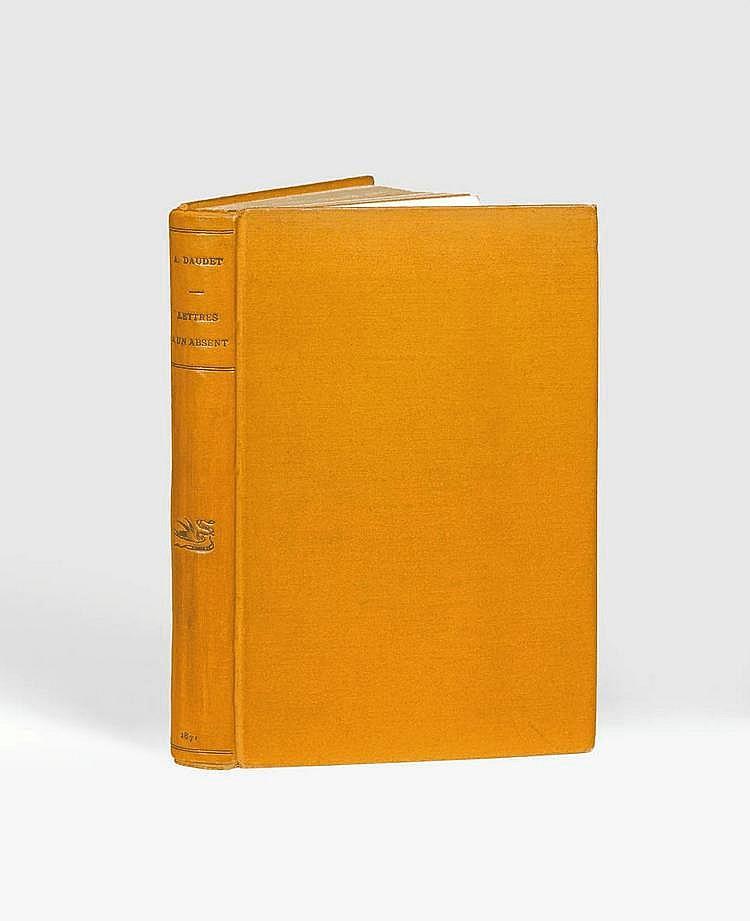 DAUDET (Alphonse). Lettres à un absent. Paris 1870- 1871. Paris, Alphonse Lemerre, 1871. In-8, bradel percaline ocre, dos lisse orné d'un fleuron à froid, non rogné, couverture (Pierson).