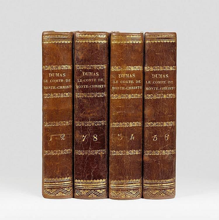 DUMAS (Alexandre). Le Comte de Monte-Christo. Bruxelles, Méline, Cans et compagnie, 1845-1846. 8 tomes en 4 volumes in-18, demi-basane brune, dos lisse orné (Reliure de l'époque).