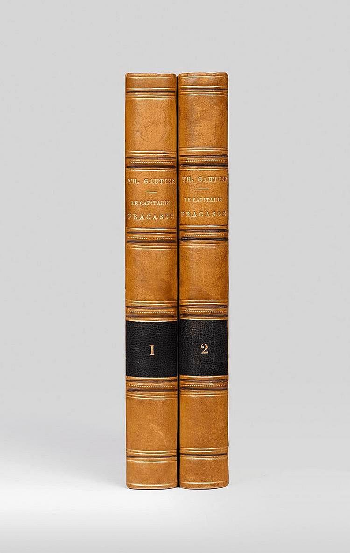 GAUTIER (Théophile). Le Capitaine Fracasse. Paris, Charpentier, 1863. 2 volumes in-12, demi-veau blond, dos à nerfs soulignés au filet doré droit et pointillé, tranches lisses (Reliure de l'époque).