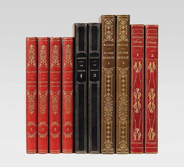 BALZAC (Honoré de). Le Père Goriot. Paris, Werdet, Spachmann, 1835. 2 volumes in-8, demi-maroquin brun avec coins sertis d'un filet doré, dos lisse orné en long de motifs dorés, non rogné, couverture (V. Champs).