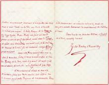 Jules BARBEY D'AUREVILLY. L.A.S., 28 mars 1865, à son cher William [Haussoulier]; 2 pages et demie in-8, à l'encre rouge.