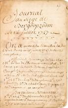 Siège de BERG-OP-ZOOM. Manuscrit autographe par un soldat français, Journal du siege de Bergôopzôom, 14 juillet-l6 septembre 1747; carnet in-12 sur papier de 57 feuillets, reliure de l'époque en parchemin à rabat (rel. usagée, mouillures), sous