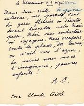 René CHAR (1907-1988). Poème autographe signé «R.C.», Le délassement de l'aiguilleur; 1 page in-12 (petite correction).