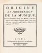 Antoine DARD (1715-1784). Nouveaux Principes de Musique...gravés par Melle Girard (Paris, chez l'Auteur, 1768) ; in-4, demi-veau blond à coins, dos orné à 5 nerfs, 169 pp. Relié avec : DARD. Origine et progression de la Musique, Suivies du Parallèle