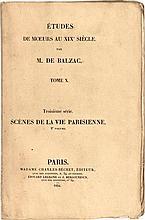 BALZAC (Honoré de). Études de maeurs au XIXe siècle. Paris, Madame Charles-Béchet [puis] Werdet, 1834-1837. 12 volumes grand in-8, broché, non rogné, conservés deux par deux dans six boîtes-cigare de chagrin brique sous chemise entoilée (Zaehnsdorf).