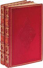 FLAUBERT (Gustave). Madame Bovary. Paris, Michel Lévy, 1857. 2 volumes in-12, veau cerise, double filet doré, roulette en encadrement et plaque losangée centrale estampées à froid, dos orné de motifs dorés et à froid, tête dorée, non rogné, dentelle