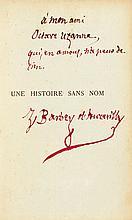 BARBEY D'AUREVILLY (Jules). Une Histoire sans nom. Paris, Alphonse Lemerre, 1882. In-12, demi-chagrin prune serti d'un filet doré, plats de percaline mauve décorée de feuillages dorés, dos orné de fleurons dorés, tête dorée, non rogné (Reliure de