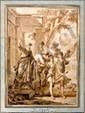 École FRANÇAISE du XVIIIe siècle, suiveur de Jean-François LAGRENÉE Le départ de Tobie  Lavis de sépia H.  35,5 cm - L.  25,5 cm