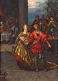 École FLAMANDE du XVIIe siècle, entourage de Frans FRANCKEN Les mariés Huile sur cuivre H.  35 cm - L.  27,5 cm
