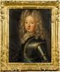 École française du XVIIIe siècle.  Louis XIV, le Dauphin et enfants de France.  Suite de quatre huiles sur toile Cadres en bois sculpté et doré.  H.  39 cm - L.  31 cm