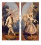 École Française du XIXe siècle.  Deux pendants.  Pierrot et Colombine.  Huile sur panneau.  H.  41 cm - L.  18,5 cm