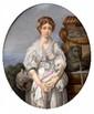 GREUZE (d'après) La cruche cassée Plaque ovale en porcelaine peinte Signée H.  31 cm - L.  26,5 cm