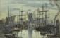 FRANK-BOGGS (1855-1926) Trois-mâts à quai (Dieppe)  Aquarelle et fusain.  Signée en bas à gauche H.  26 cm - L.  41 cm