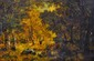 École française du XIXe siècle.  Paysanne au sous-bois.  Huile sur panneau.  Porte une signature DIAZ.  H.  24 cm - L.  35 cm
