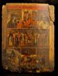 ICÔNES à SEPT REGISTRES De gauche à droite sont représentés la  Vierge de Kazan, la Résurrection, saint Nicolas et une assemblée de saints.  Russie vers 1800 Tempera sur bois, usures, manques, accidents visibles et restaurations.  41 x 32 cm