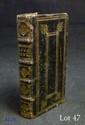 GODDÆUS (Conradus) sous le pseud. de Curtius Jæle. Laus ululæ ad Conscriptos Ululantium Patres & Patronos. Prostat Claucopoli, apud Cæsarum Nyctimenium, in platea Ulularia, s.d. Hollande, vers 1640. In-16, maroquin noir, triple filet doré, décor à la
