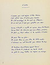 Yves BONNEFOY (né 1923). Manuscrit autographe signé, Huit Poèmes, [1958]; titre et 8 pages in-4.