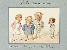 Romain Thomas dit LHÉRITIER (1809-1885) acteur. Album de 23 aquarelles originales, dont 6 signées «Lh», [1860-1873]; montées sur 12 feuillets de carton bleu oblong in-fol. dans un album en reliure d'époque demi-basane brune (rel. usagée).