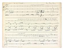 Léo DELIBES (1836-1891). Manuscrit musical autographe signé «L.D.», [Sérénade de Ruy Blas]; 5 pages obl. in-fol.
