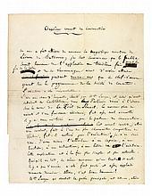 Hector BERLIOZ (1803-1869). Manuscrit autographe signé, Cinquième concert du Conservatoire, [1840]; 4pages in-4 avec ratures et corrections (marques de plis).