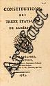 CONSTITUTIONS des treize États-Unis de l'Amérique. Philadelphie, Paris, Ph.-D. Pierres, Pissot père  &  fils, 1783. In-8, demi-veau havane marbré, dos lisse orné de vases dorés, pièce de titre ivoire, tranches mouchetées rouges (Reliure de l'époque).