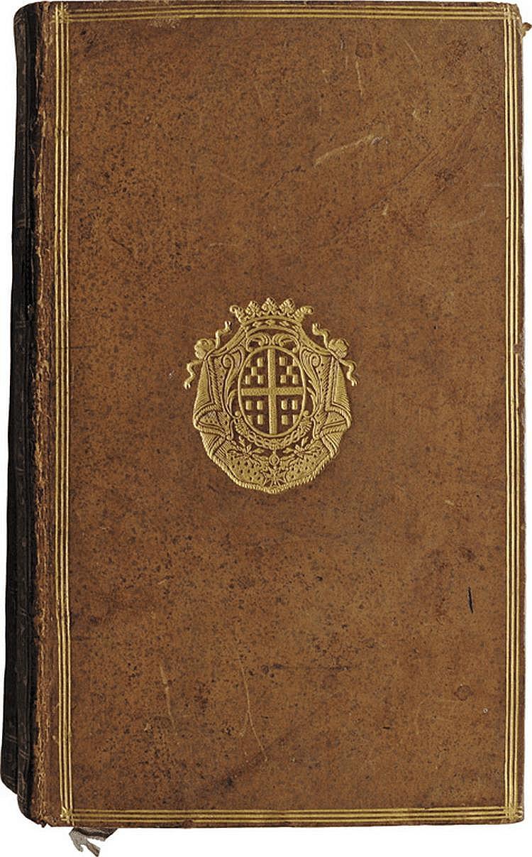 HISTOIRE DE L'EMPIRE DE RUSSIE SOUS PIERRE LE GRAND par l'auteur de l'histoire de Charles XII. S. l.Genève, 1759 - 1763 ; 2 vol. in-8, basane blonde mouchetée, encadrement triple filet doré, armes au centre des plats, dos lisses ornés de caissons et