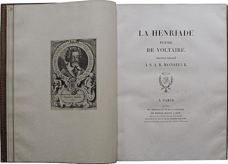 LA HENRIADE, poème de Voltaire. Édition dédiée à S. A. R. Monsieur. Paris, Didot, 1819 ; in-folio, maroquin rouge, encadrement de filets dorés, dos à nerfs orné de décors dorés, tranches dorées, dentelles intérieures, tranches dorées, doublé et