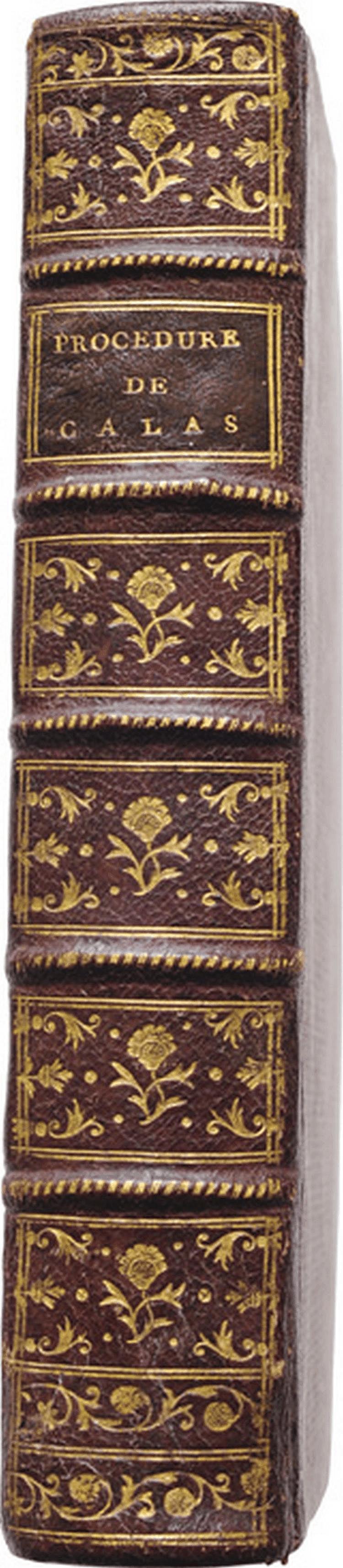 AFFAIRE CALAS. Recueil de différentes pièces sur l'affaire malheureuse de la famille des Calas ; in-8, demi-maroquin rouge, dos à nerfs orné de filets et de fleurons dorés, pièce de titre en maroquin havane, tranches rouges (Reliure de l'époque).