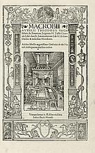 MACROBE. In Somnium Scipionis M. Tullii Ciceronis libri duo, et Saturnaliorum lib. VII. Paris, Josse Bade, 1524. In-folio, basane fauve, dos à nerfs, pièce de titre ocre, tranches marbrées (Reliure du début du XVIIIe siècle).
