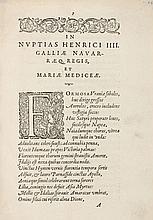 PASSERAT (Jean). In nuptias Henricus IIII, Galliæ Navarræq[ue] regis, et Mariæ Mediceæ. S.l.n.d. [Paris, 1600]. In-4, bradel demi-percaline verte, dos lisse titré en long, tranches dorées (Reliure du XIXe siècle).