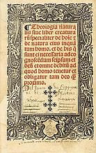 [SEBONDE (Raymond de)]. Theologia naturalis sive liber creatura. Lyon, Jacques Myt, 15 mai 1526. In-8, vélin ivoire, dos lisse, pièce de titre dorée, tranches mouchetées (Reliure de l'époque).