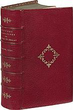 DU BELLAY (Joachim). Les Œuvres françoises. Reveuës, & de nouveau augmentées de plusieurs Poësies non encore auparavant imprimées. Rouen, pour George l'Oyselet, 1592. In-12, maroquin rouge, médaillon doré au centre, dos orné de fleurons azurés dorés,