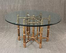 Glass Top Table, 20th c, with Bamboo Legs, 35