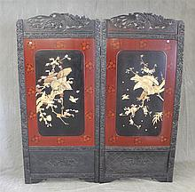 Pair of Hanging Chinese Lacquerware Screens with Ivory Appliques of Hawks withiin Carved Frames, Early 20th c, 70