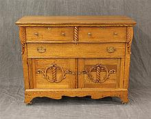 Sideboard, Oak, on Casters with Hand Carved Designs, some Nicks 38