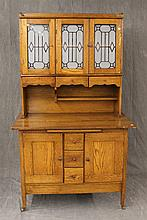 Country Kitchen Cupboard, Oak, on Casters, 71 1/2