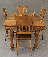5 Piece Dining Room Suite, Oak, (1) Extension Table on Casters 30 1/2