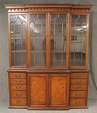Joahon, English Breakfront Bookcase, Mahogany, Four Glazed Doors Over Inlaid Two Doors with Five Graduated Drawers on Each Side, (So...