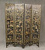 Chinese Four Panel Screen, Black Laquer with Hardstone Genre Decorated Panels, 73 1/2