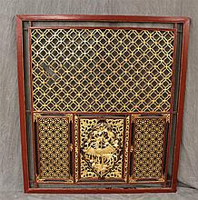 Chinese Wall Screen, Carved Lattice with Gold Crane Medallion, 52