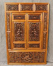 Chinese Window Screen, Hand Carved Lattice with Two Large Opening lattice Screens, Three Panel Top, Lions, Birds, and Floral Pattern...